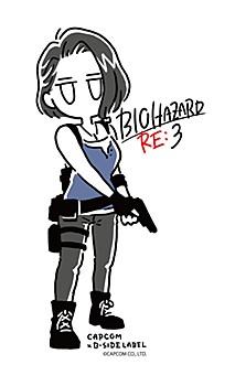"Capcom x B-Side Label Sticker ""Resident Evil"" Jill (Line Art)"